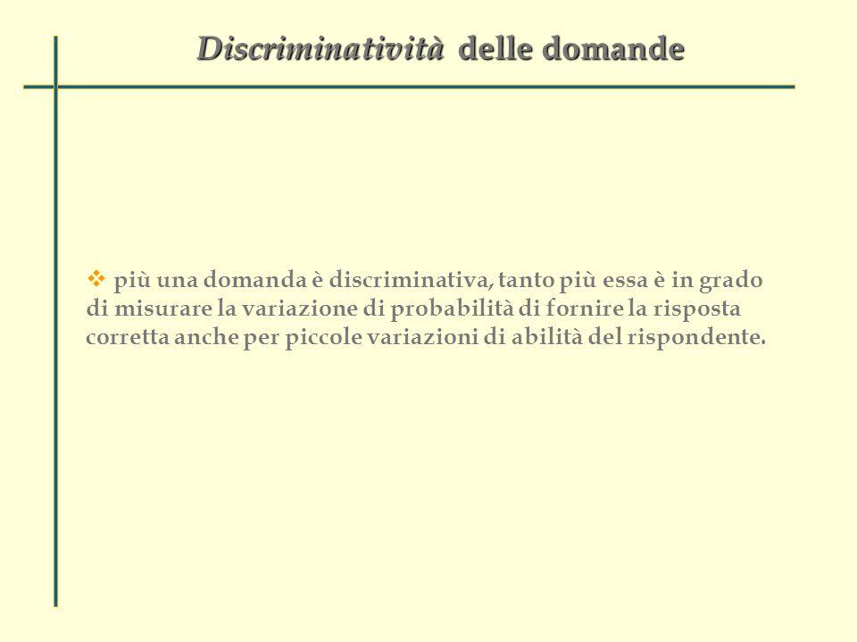 Discriminatività delle domande  più una domanda è discriminativa, tanto più essa è in grado di misurare la variazione di probabilità di fornire la risposta corretta anche per piccole variazioni di abilità del rispondente.