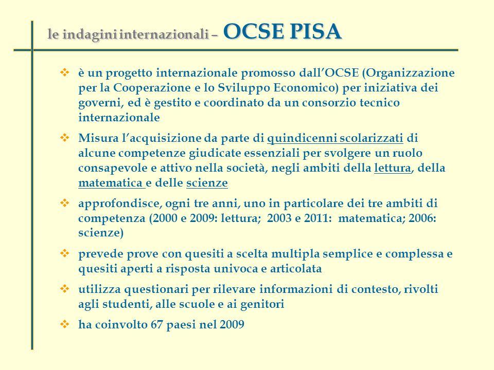 le indagini internazionali – OCSE PISA  è un progetto internazionale promosso dall'OCSE (Organizzazione per la Cooperazione e lo Sviluppo Economico) per iniziativa dei governi, ed è gestito e coordinato da un consorzio tecnico internazionale  Misura l'acquisizione da parte di quindicenni scolarizzati di alcune competenze giudicate essenziali per svolgere un ruolo consapevole e attivo nella società, negli ambiti della lettura, della matematica e delle scienze  approfondisce, ogni tre anni, uno in particolare dei tre ambiti di competenza (2000 e 2009: lettura; 2003 e 2011: matematica; 2006: scienze)  prevede prove con quesiti a scelta multipla semplice e complessa e quesiti aperti a risposta univoca e articolata  utilizza questionari per rilevare informazioni di contesto, rivolti agli studenti, alle scuole e ai genitori  ha coinvolto 67 paesi nel 2009