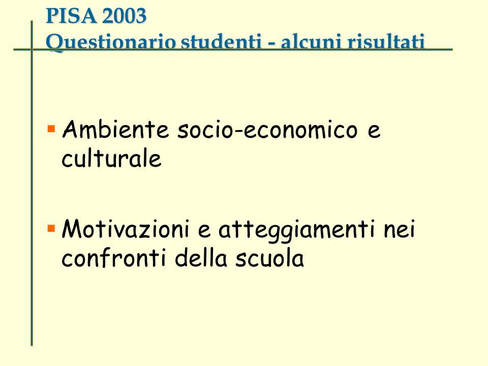 PISA 2003 Questionario studenti - alcuni risultati  Ambiente socio-economico e culturale  Motivazioni e atteggiamenti nei confronti della scuola