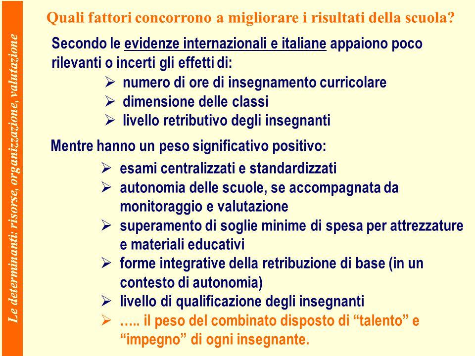 Le determinanti: risorse, organizzazione, valutazione Quali fattori concorrono a migliorare i risultati della scuola.