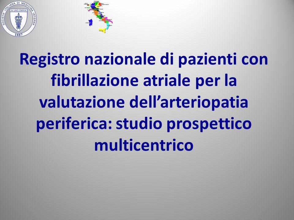 Registro nazionale di pazienti con fibrillazione atriale per la valutazione dell'arteriopatia periferica: studio prospettico multicentrico