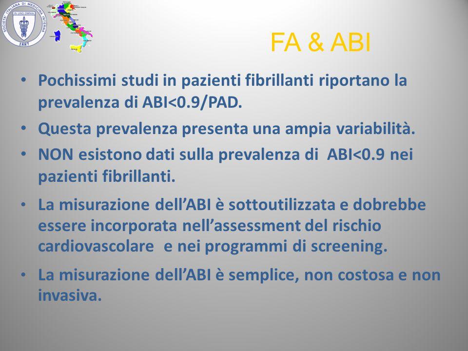 Pochissimi studi in pazienti fibrillanti riportano la prevalenza di ABI<0.9/PAD.