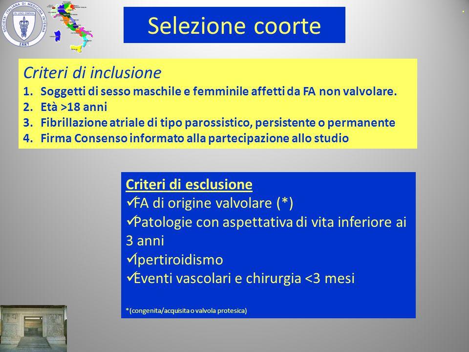 Selezione coorte Criteri di inclusione 1.Soggetti di sesso maschile e femminile affetti da FA non valvolare.