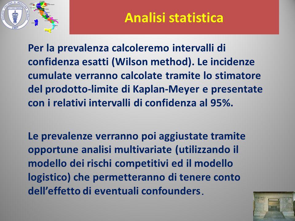 Analisi statistica Per la prevalenza calcoleremo intervalli di confidenza esatti (Wilson method).