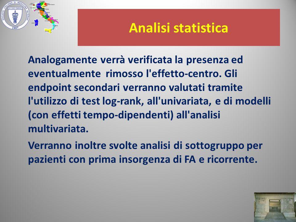 Analisi statistica Analogamente verrà verificata la presenza ed eventualmente rimosso l effetto-centro.