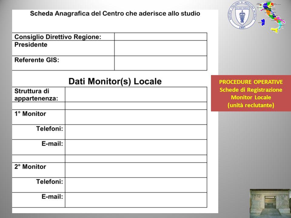 PROCEDURE OPERATIVE Schede di Registrazione Monitor Locale (unità reclutante)