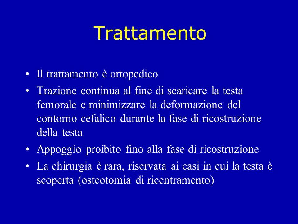 Trattamento Il trattamento è ortopedico Trazione continua al fine di scaricare la testa femorale e minimizzare la deformazione del contorno cefalico d
