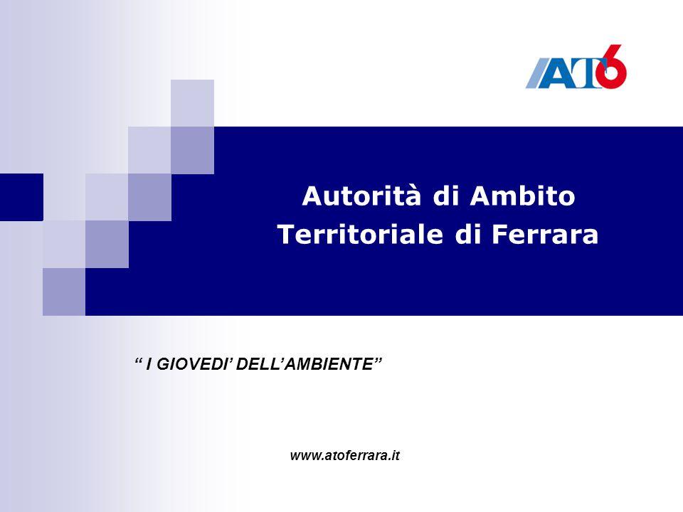 """Autorità di Ambito Territoriale di Ferrara """" I GIOVEDI' DELL'AMBIENTE"""" www.atoferrara.it"""