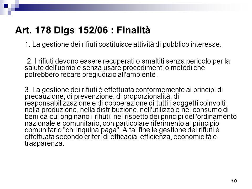 10 Art. 178 Dlgs 152/06 : Finalità 1. La gestione dei rifiuti costituisce attività di pubblico interesse. 2. I rifiuti devono essere recuperati o smal