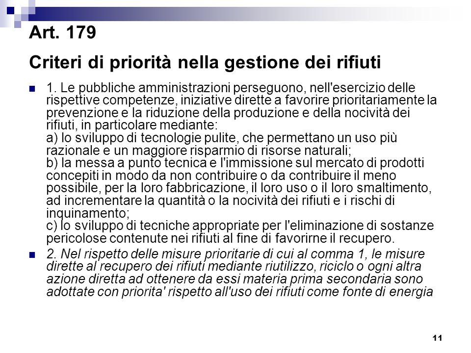 11 Art. 179 Criteri di priorità nella gestione dei rifiuti 1. Le pubbliche amministrazioni perseguono, nell'esercizio delle rispettive competenze, ini