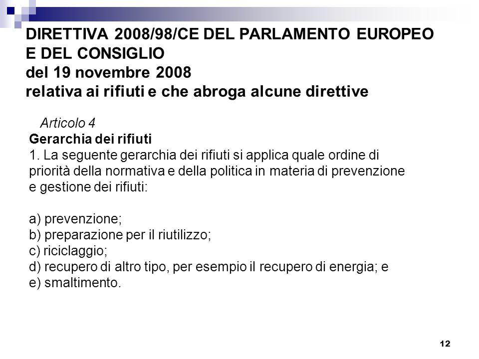 12 DIRETTIVA 2008/98/CE DEL PARLAMENTO EUROPEO E DEL CONSIGLIO del 19 novembre 2008 relativa ai rifiuti e che abroga alcune direttive Articolo 4 Gerar