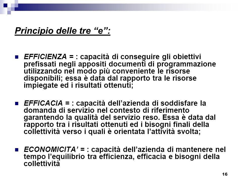 """16 Principio delle tre """"e"""": EFFICIENZA = : capacità di conseguire gli obiettivi prefissati negli appositi documenti di programmazione utilizzando nel"""