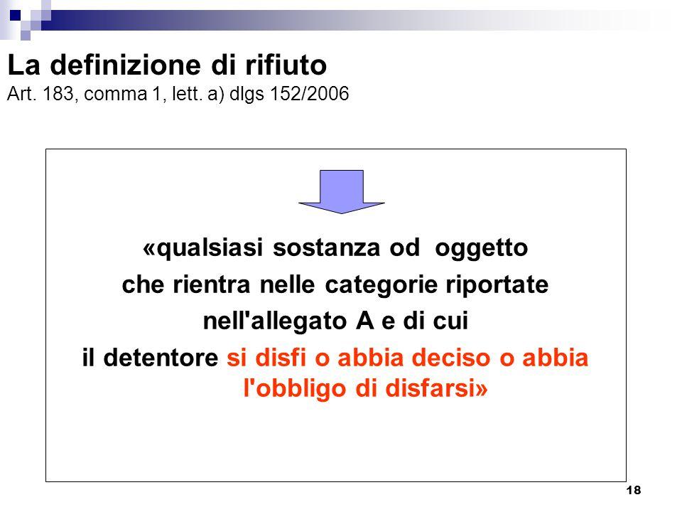 18 La definizione di rifiuto Art. 183, comma 1, lett. a) dlgs 152/2006 «qualsiasi sostanza od oggetto che rientra nelle categorie riportate nell'alleg