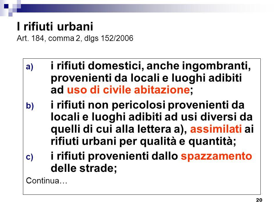 20 I rifiuti urbani Art. 184, comma 2, dlgs 152/2006 a) i rifiuti domestici, anche ingombranti, provenienti da locali e luoghi adibiti ad uso di civil
