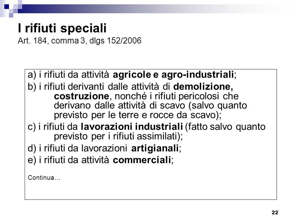 22 I rifiuti speciali Art. 184, comma 3, dlgs 152/2006 a) i rifiuti da attività agricole e agro-industriali; b) i rifiuti derivanti dalle attività di