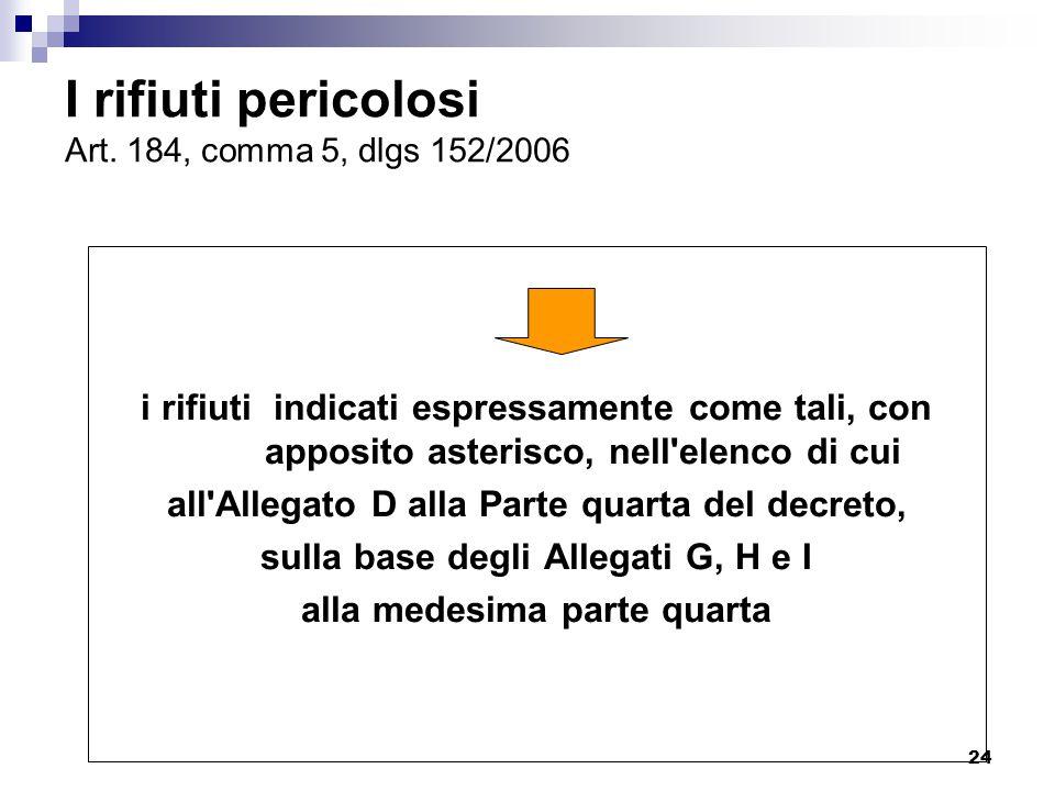 24 I rifiuti pericolosi Art. 184, comma 5, dlgs 152/2006 i rifiuti indicati espressamente come tali, con apposito asterisco, nell'elenco di cui all'Al