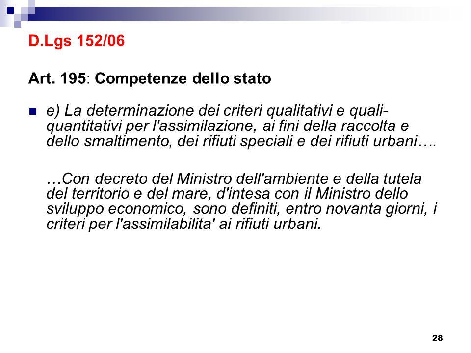 28 D.Lgs 152/06 Art. 195: Competenze dello stato e) La determinazione dei criteri qualitativi e quali- quantitativi per l'assimilazione, ai fini della