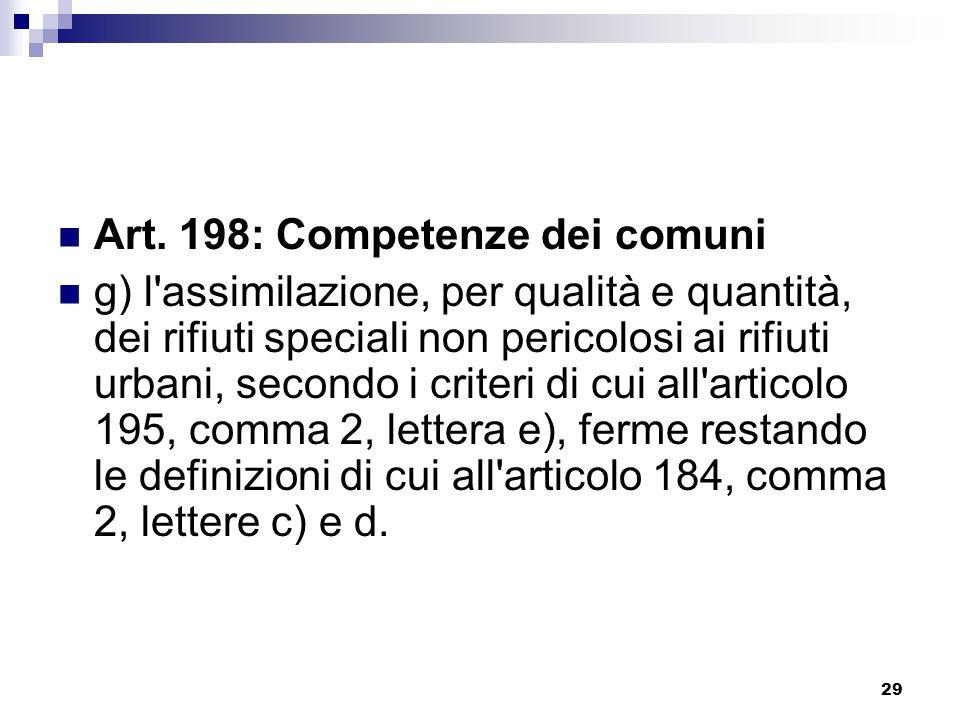 29 Art. 198: Competenze dei comuni g) l'assimilazione, per qualità e quantità, dei rifiuti speciali non pericolosi ai rifiuti urbani, secondo i criter