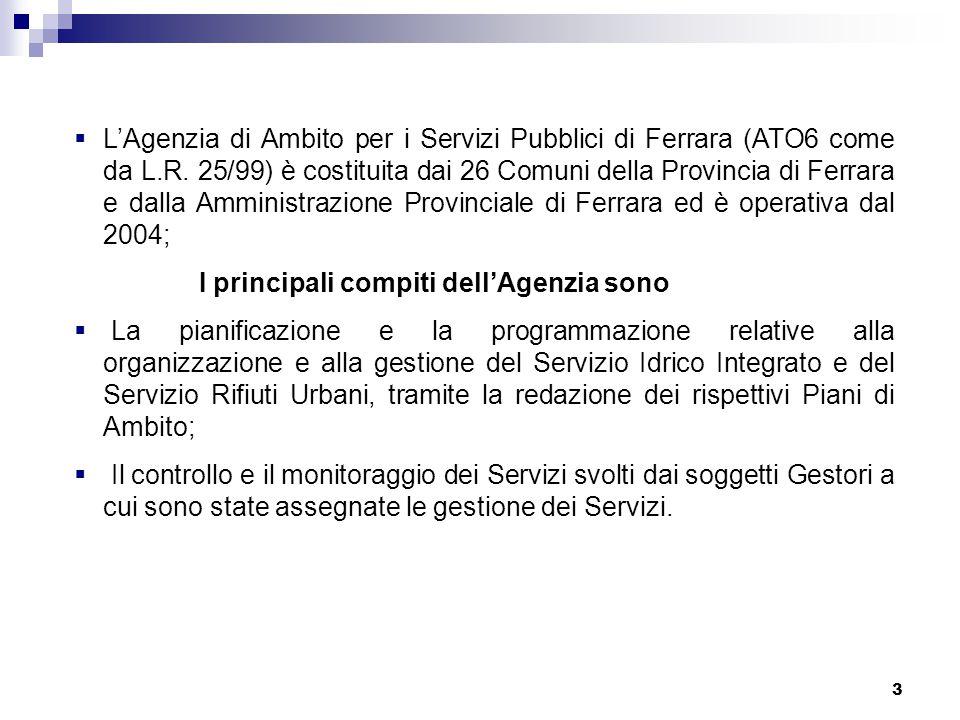 3  L'Agenzia di Ambito per i Servizi Pubblici di Ferrara (ATO6 come da L.R. 25/99) è costituita dai 26 Comuni della Provincia di Ferrara e dalla Ammi