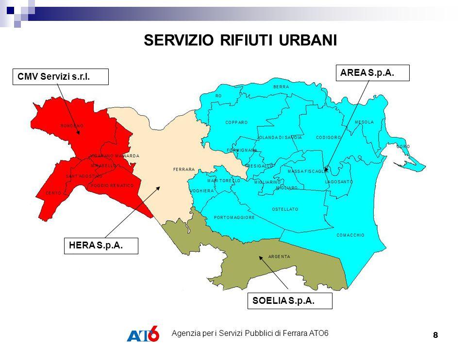 8 HERA S.p.A. SOELIA S.p.A. CMV Servizi s.r.l. AREA S.p.A. SERVIZIO RIFIUTI URBANI Agenzia per i Servizi Pubblici di Ferrara ATO6