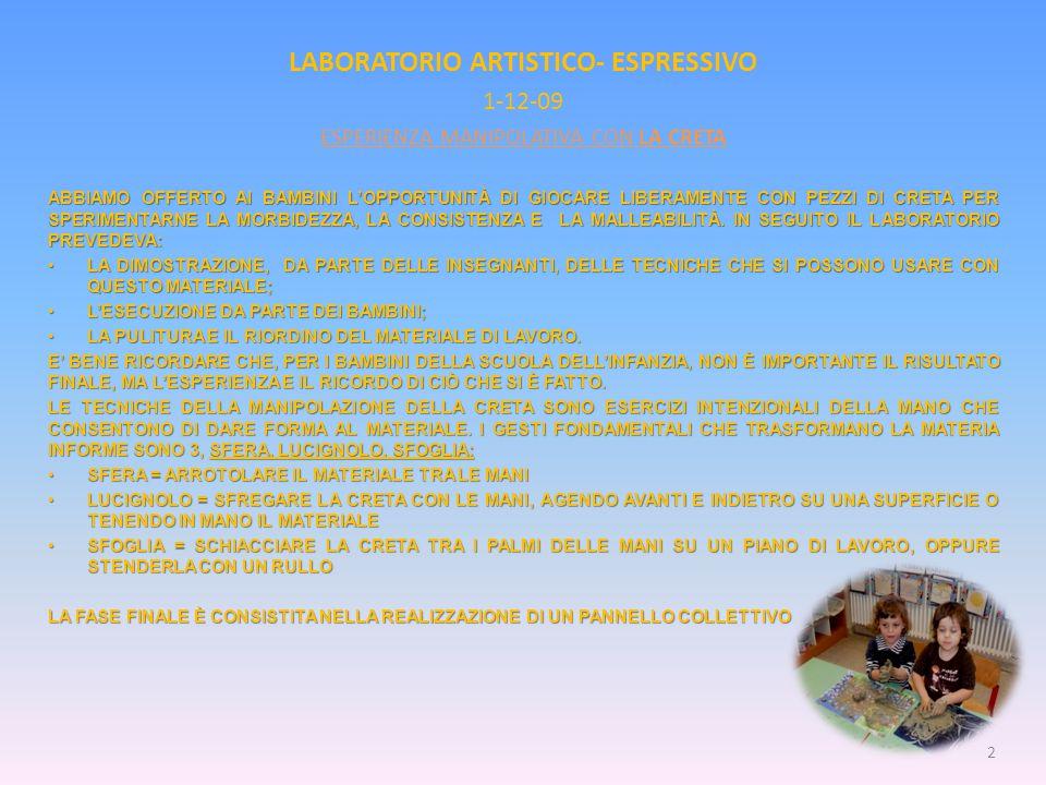 LABORATORIO ARTISTICO- ESPRESSIVO 1-12-09 ESPERIENZA MANIPOLATIVA CON LA CRETA ABBIAMO OFFERTO AI BAMBINI L'OPPORTUNITÀ DI GIOCARE LIBERAMENTE CON PEZZI DI CRETA PER SPERIMENTARNE LA MORBIDEZZA, LA CONSISTENZA E LA MALLEABILITÀ.