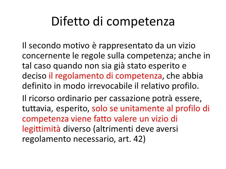 Difetto di competenza Il secondo motivo è rappresentato da un vizio concernente le regole sulla competenza; anche in tal caso quando non sia già stato