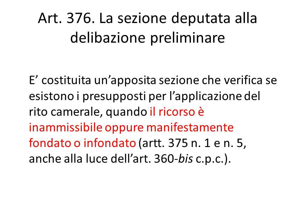 Art. 376. La sezione deputata alla delibazione preliminare E' costituita un'apposita sezione che verifica se esistono i presupposti per l'applicazione