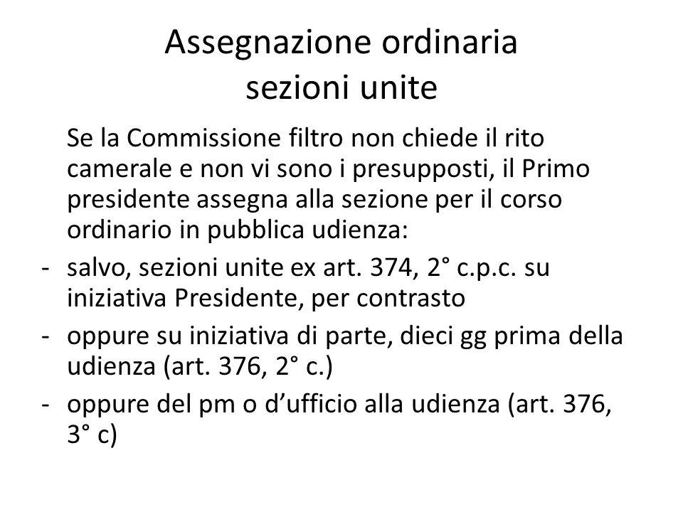 Assegnazione ordinaria sezioni unite Se la Commissione filtro non chiede il rito camerale e non vi sono i presupposti, il Primo presidente assegna all