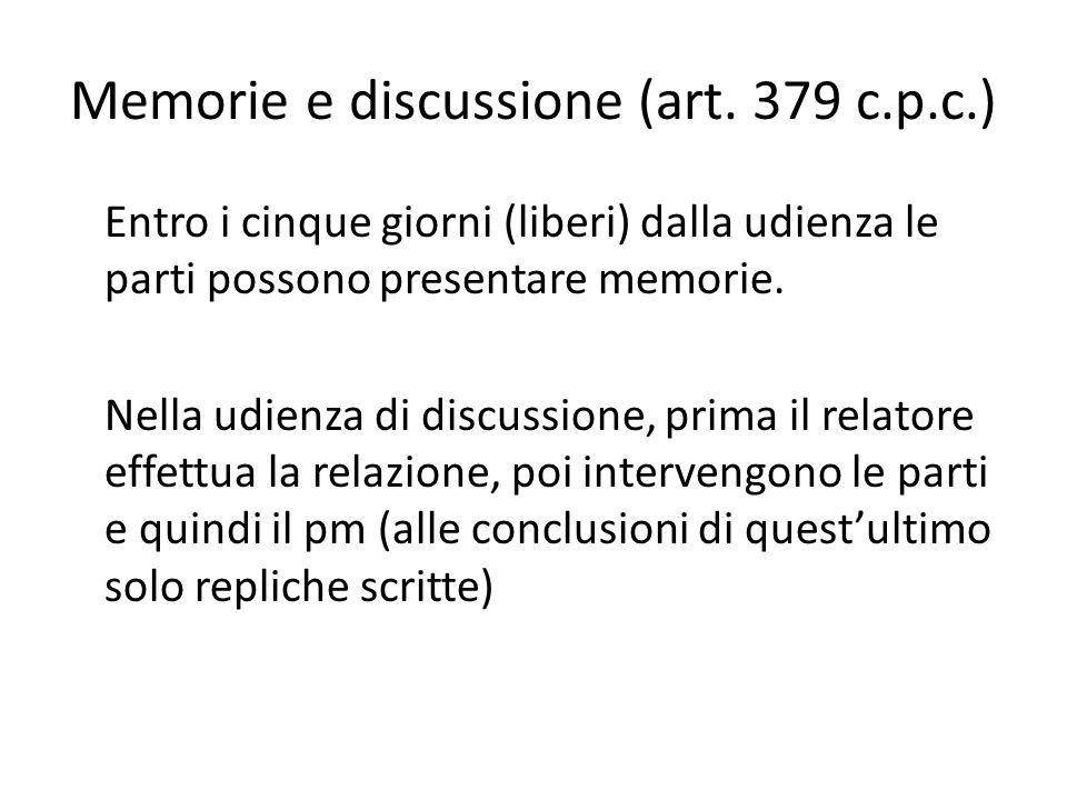 Memorie e discussione (art. 379 c.p.c.) Entro i cinque giorni (liberi) dalla udienza le parti possono presentare memorie. Nella udienza di discussione