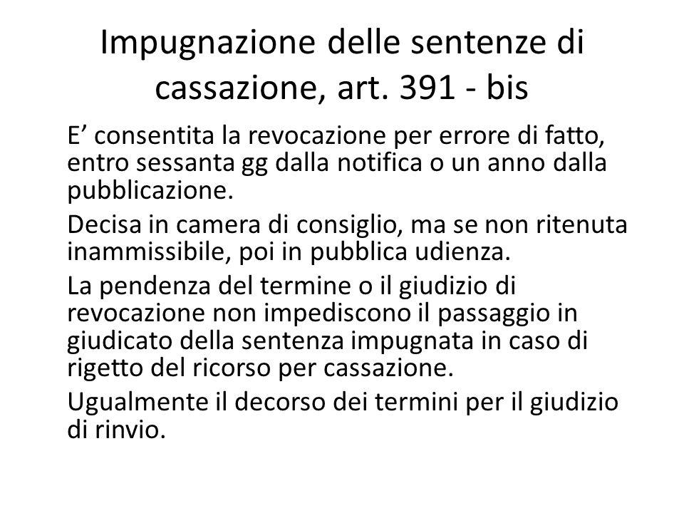 Impugnazione delle sentenze di cassazione, art. 391 - bis E' consentita la revocazione per errore di fatto, entro sessanta gg dalla notifica o un anno