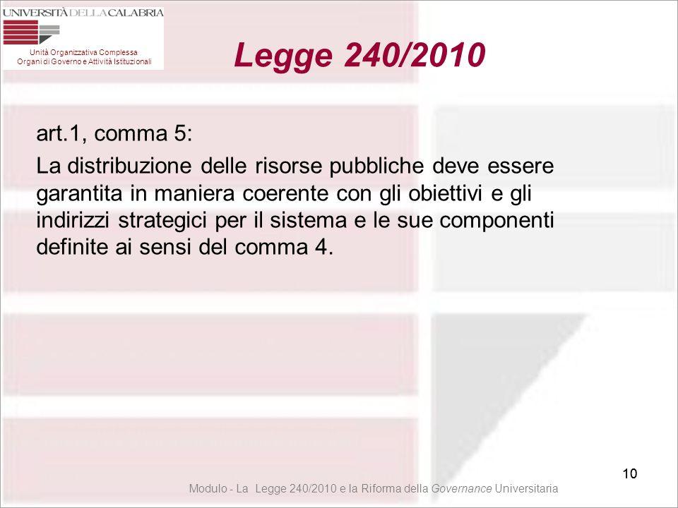 10 art.1, comma 5: La distribuzione delle risorse pubbliche deve essere garantita in maniera coerente con gli obiettivi e gli indirizzi strategici per
