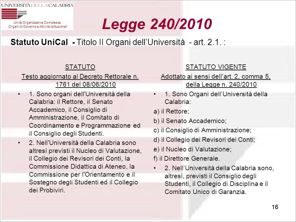 16 Statuto UniCal - Titolo II Organi dell'Università - art. 2.1. : STATUTO Testo aggiornato al Decreto Rettorale n. 1761 del 08/06/2010 1. Sono organi