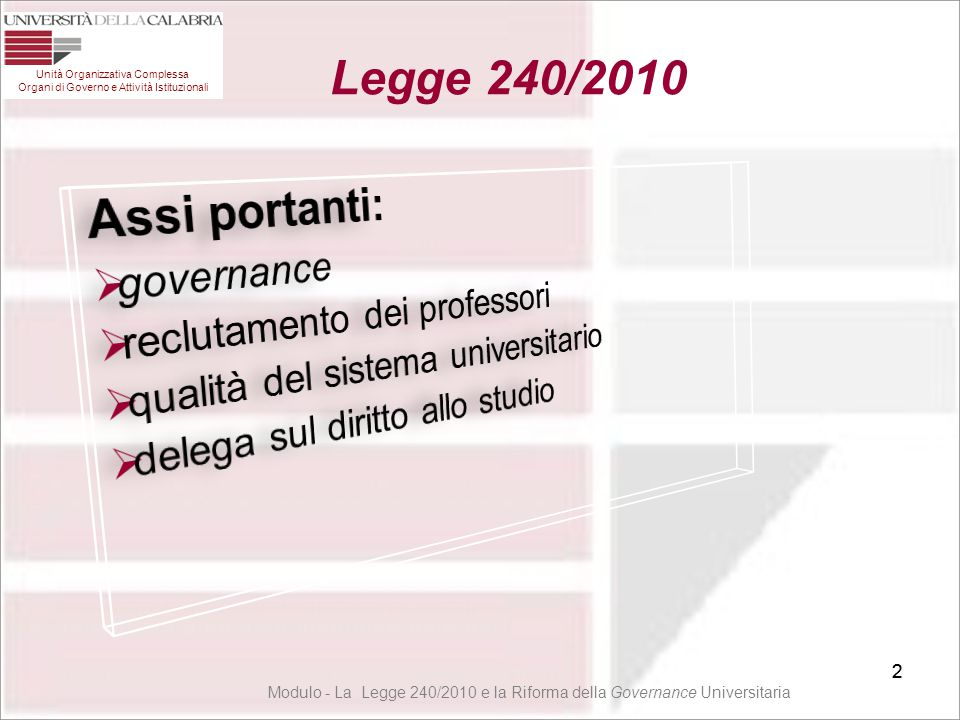 3 1° livello Principi Ispiratori: Autonomia Gestione Responsabile ed Efficienza Merito 3 Unità Organizzativa Complessa Organi di Governo e Attività Istituzionali Legge 240/2010 Modulo - La Legge 240/2010 e la Riforma della Governance Universitaria