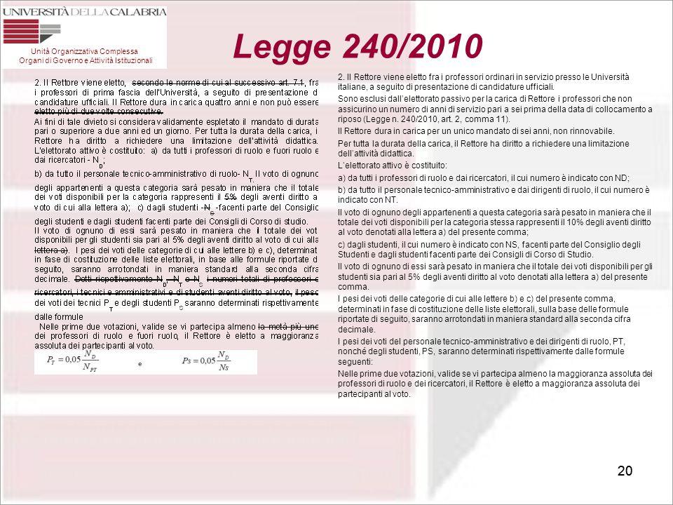 20 2. Il Rettore viene eletto fra i professori ordinari in servizio presso le Università italiane, a seguito di presentazione di candidature ufficiali