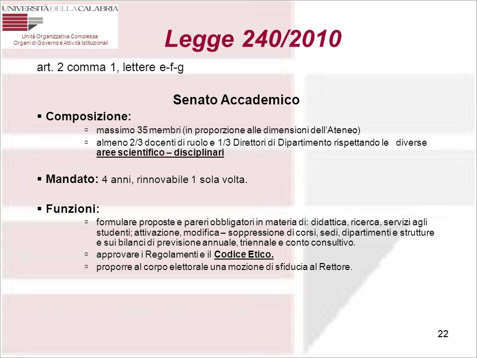22 art. 2 comma 1, lettere e-f-g Senato Accademico  Composizione:  massimo 35 membri (in proporzione alle dimensioni dell'Ateneo)  almeno 2/3 docen