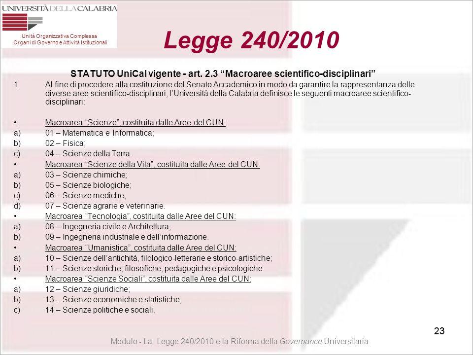 """23 STATUTO UniCal vigente - art. 2.3 """"Macroaree scientifico-disciplinari"""" 1.Al fine di procedere alla costituzione del Senato Accademico in modo da ga"""