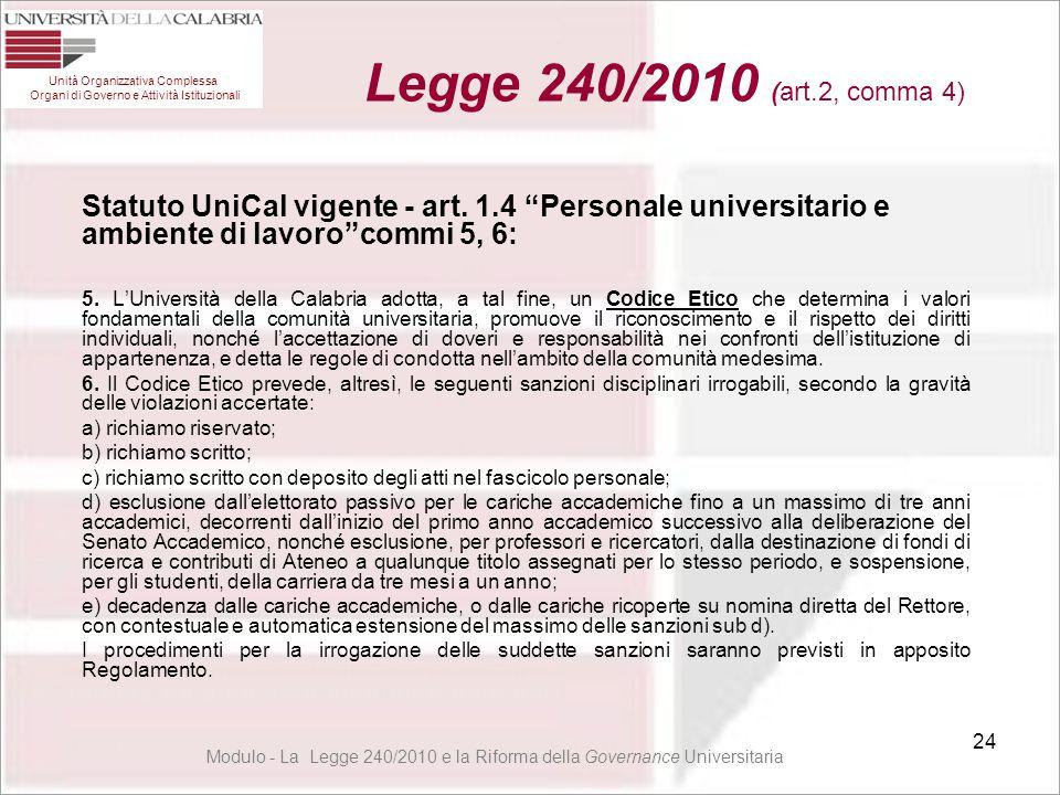"""24 Statuto UniCal vigente - art. 1.4 """"Personale universitario e ambiente di lavoro""""commi 5, 6: 5. L'Università della Calabria adotta, a tal fine, un C"""