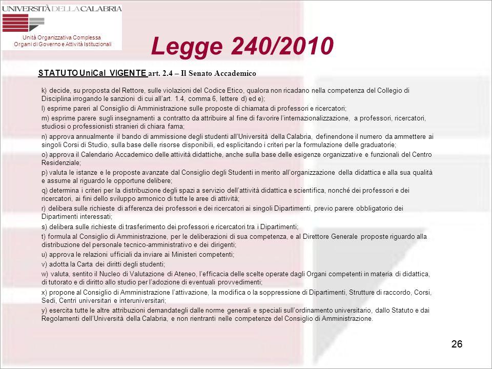 26 STATUTO UniCal VIGENTE art. 2.4 – Il Senato Accademico k) decide, su proposta del Rettore, sulle violazioni del Codice Etico, qualora non ricadano