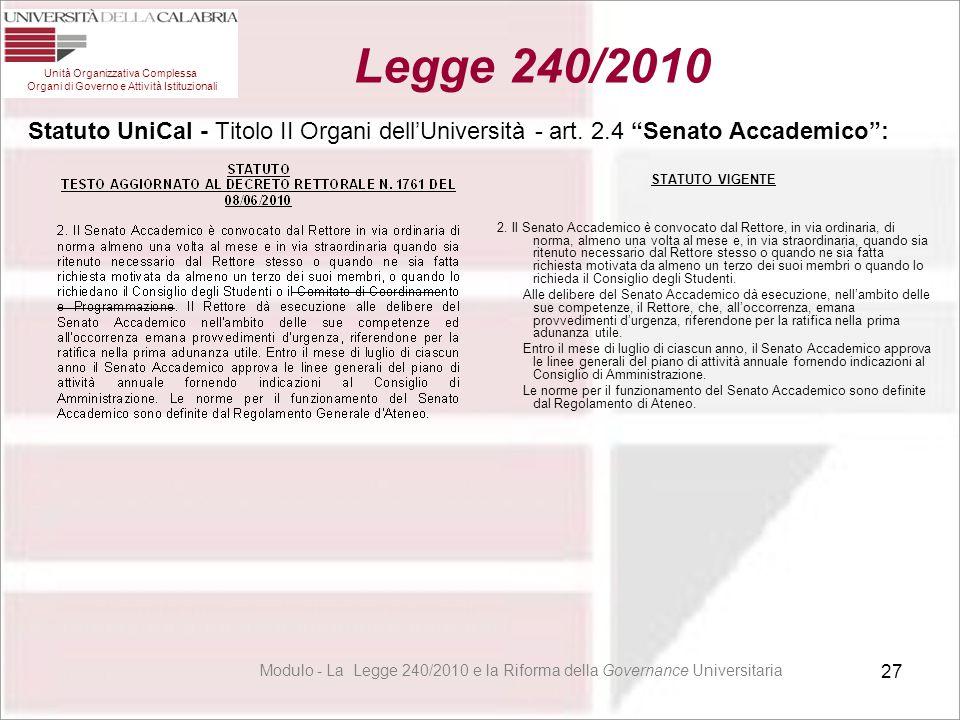 """27 Statuto UniCal - Titolo II Organi dell'Università - art. 2.4 """"Senato Accademico"""": STATUTO VIGENTE 2. Il Senato Accademico è convocato dal Rettore,"""