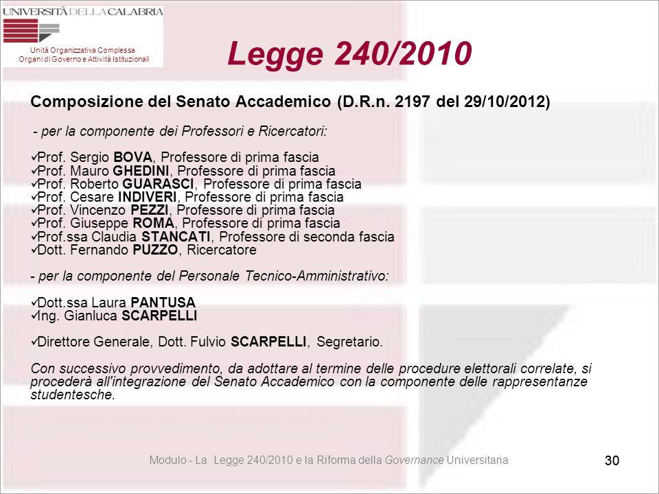 30 Composizione del Senato Accademico (D.R.n. 2197 del 29/10/2012) - per la componente dei Professori e Ricercatori: Prof. Sergio BOVA, Professore di
