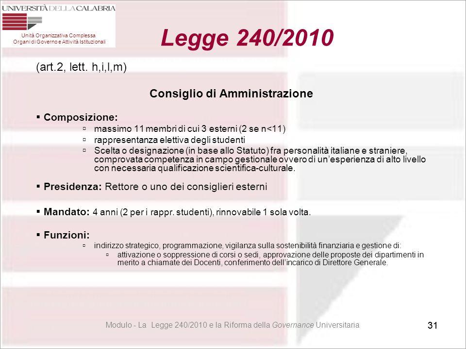 31 (art.2, lett. h,i,l,m) Consiglio di Amministrazione  Composizione:  massimo 11 membri di cui 3 esterni (2 se n<11)  rappresentanza elettiva degl