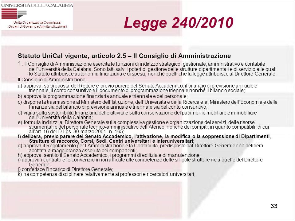 33 Statuto UniCal vigente, articolo 2.5 – Il Consiglio di Amministrazione 1. Il Consiglio di Amministrazione esercita le funzioni di indirizzo strateg