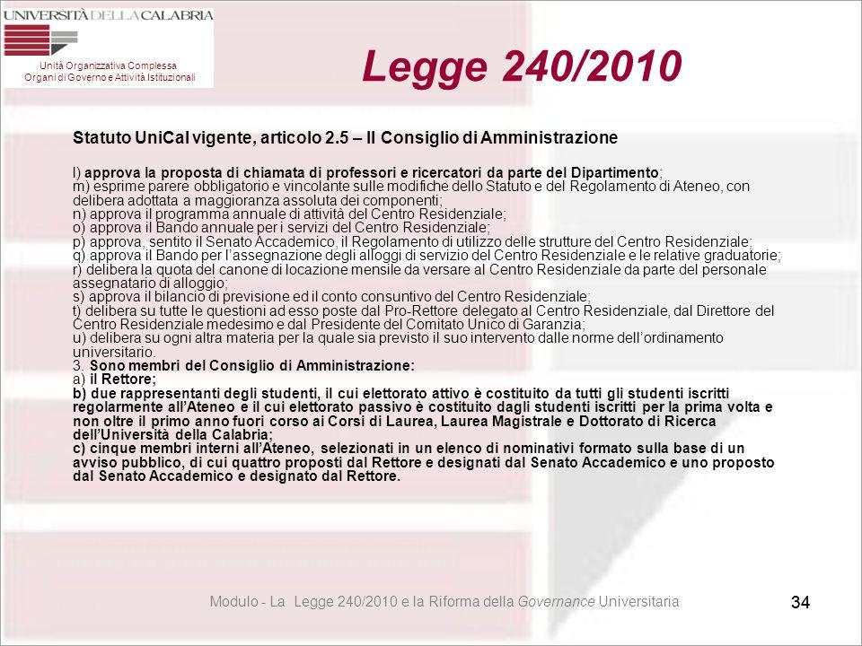 34 Statuto UniCal vigente, articolo 2.5 – Il Consiglio di Amministrazione l) approva la proposta di chiamata di professori e ricercatori da parte del
