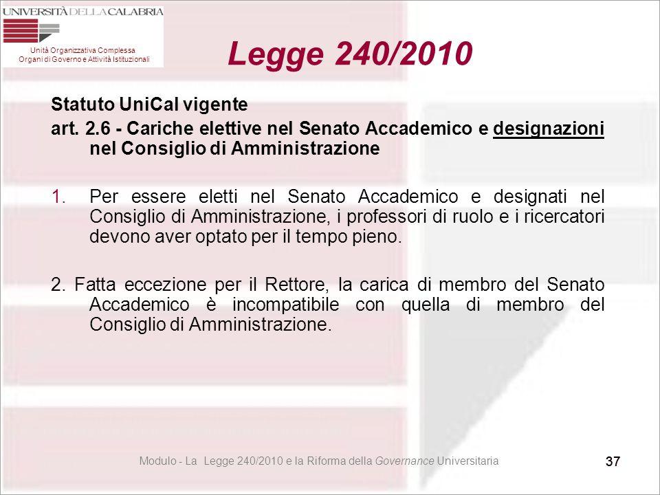 37 Statuto UniCal vigente art. 2.6 - Cariche elettive nel Senato Accademico e designazioni nel Consiglio di Amministrazione 1.Per essere eletti nel Se