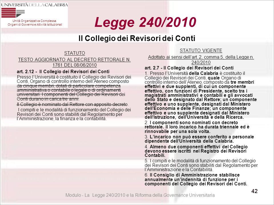 42 Il Collegio dei Revisori dei Conti STATUTO TESTO AGGIORNATO AL DECRETO RETTORALE N. 1761 DEL 08/06/2010 art. 2.12 - Il Collegio dei Revisori dei Co