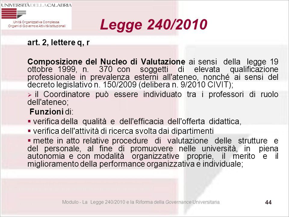 44 art. 2, lettere q, r Composizione del Nucleo di Valutazione ai sensi della legge 19 ottobre 1999, n. 370 con soggetti di elevata qualificazione pro