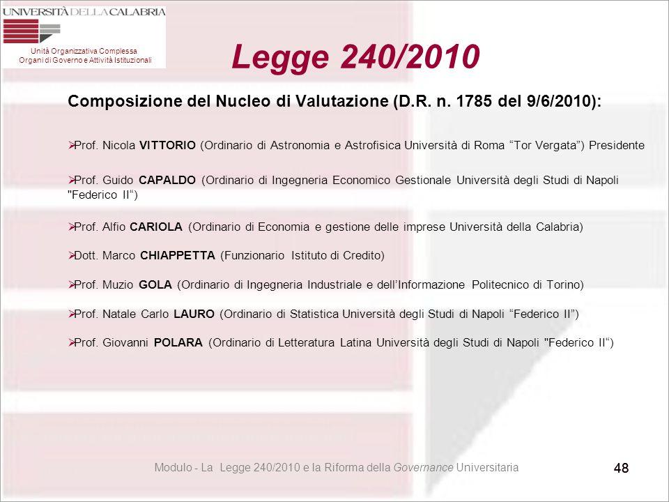 48 Composizione del Nucleo di Valutazione (D.R. n. 1785 del 9/6/2010):  Prof. Nicola VITTORIO (Ordinario di Astronomia e Astrofisica Università di Ro