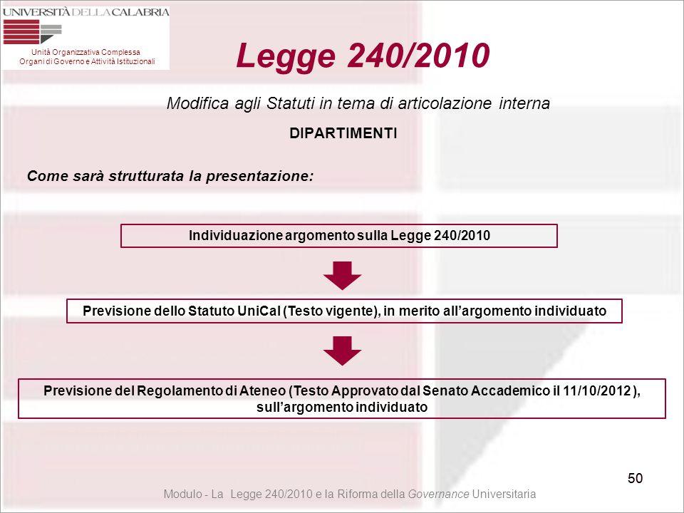 DIPARTIMENTI Modulo - La Legge 240/2010 e la Riforma della Governance Universitaria 50 Legge 240/2010 50 Modifica agli Statuti in tema di articolazion