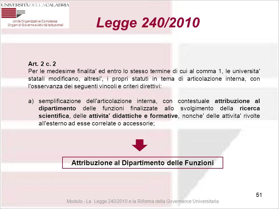 51 Unità Organizzativa Complessa Organi di Governo e Attività Istituzionali Legge 240/2010 51 Art. 2 c. 2 Per le medesime finalita' ed entro lo stesso