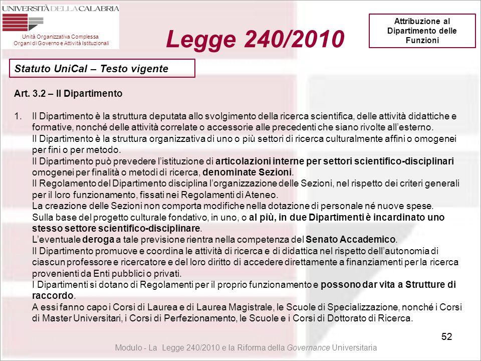 52 Unità Organizzativa Complessa Organi di Governo e Attività Istituzionali Legge 240/2010 52 Art. 3.2 – Il Dipartimento 1.Il Dipartimento è la strutt